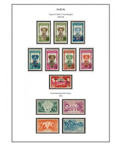 COLOR PRINTED GABON 1886-1933  STAMP ALBUM PAGES (14 illustrated pages)