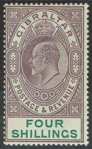 GIBRALTAR 1903 KEVII 4/- WMK CROWN CA