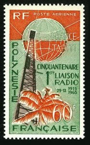 Fr Polynesia C39,MNH.Michel 51. Radio Tahiti-France,50th Ann.1965.Globe,Palm.