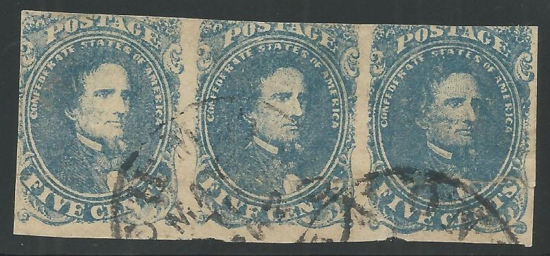 CSA Scott #4 Stone 3 Pos 1-3 Used Strip of 3 Confederate Stamps Leaking N