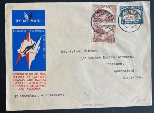 1934 Pietersburg South Africa Flight Flight Airmail Cover to Brisbane Australia