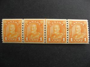 Canada Ut 178i KGV MNH line pair coil strip of 4,small stain,see pictures