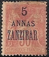 France-Off. Zanzibar 25 MH 1896 5a on 50c Peace & Commerce