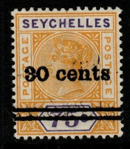SEYCHELLES SG42 1902 30c on 75c YELLOW & VIOLET MNH