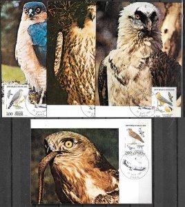 FRANCE STAMPS 1984,  SET OF 4 MAXI CARDS MC MAXIMUM CARDS LOCAL BIRDS