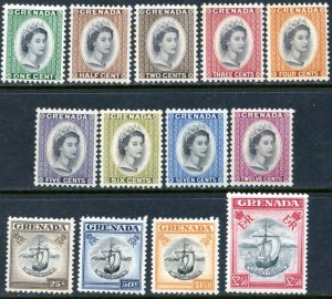GRENADA Sc#171-183 SG#192-204 1953-59 QEII Defins Complete Set OG Mint LH