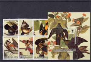 Burkina Faso 1985 Sc#717/723 AUDUBON BIRTH BICENT.BIRDS Set (6)+1 S/S MNH
