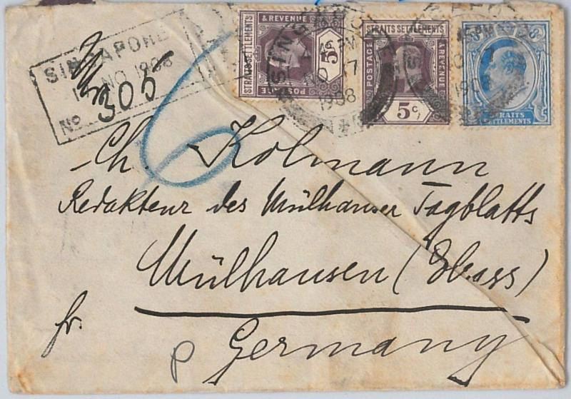 Straits Settlements POSTAL HISTORY: COVER from SINGAPORE  to GERMANY 1908