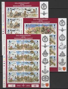ISLE OF MAN SG502/7 1992 ANNIVERSARY OF PARACHUTE REGIMENT SHEETLETS MNH