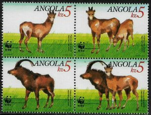 Angola #784a MNH Block - World Wildlife Fund (c)