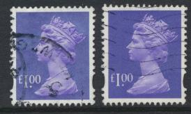 Great Britain SG Y1743 SC# MH279 Machin £1 Used x2  Bluish Violet see phosph...