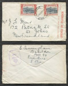p433 - SOUTHERN RHODESIA 1942 CENSORED Cover to NEWFOUNDLAND