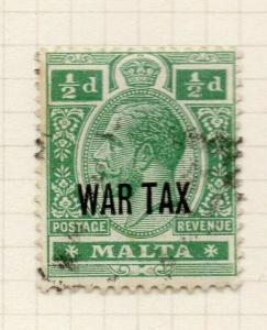 Malta 1917-18 Early Issue Fine Used 1/2d. War Optd 321541