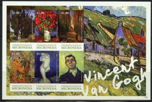 NEVER BEFORE OFFERED RARE MICRONESIA VINCENT van GOGH  SHT  IMPERFORATE MINT NH