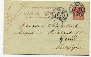 D16601 France Tours-Gare  1903 Postal Stationery Gand Belgium