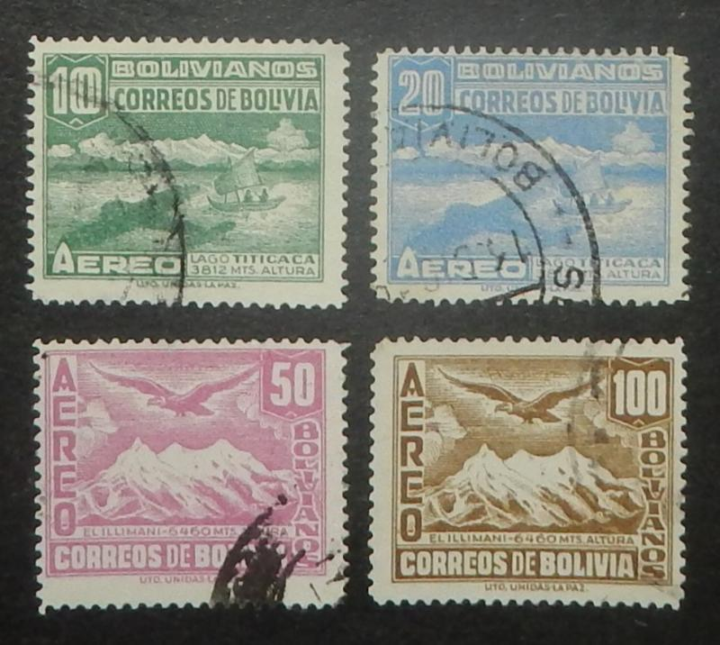 Bolivia C82-85. 1941 10B-100B Air Post, used