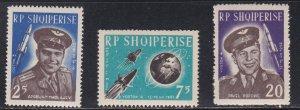 Albania # 654-656, Cosmonauts and Satellite, NH, 1/2 Cat.