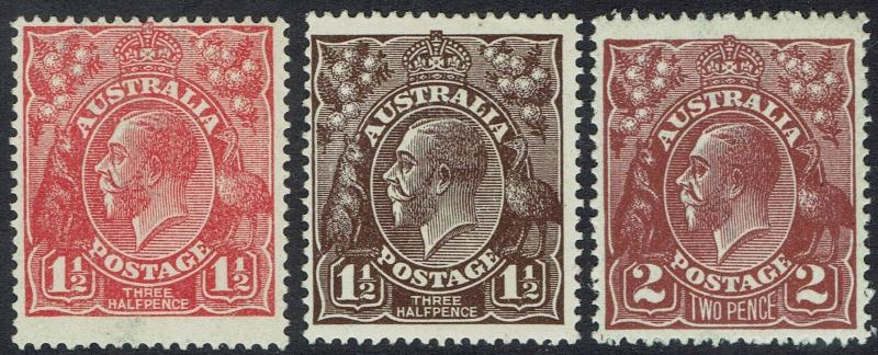 AUSTRALIA 1918 KGV 11/2D BROWN AND RED AND 2D MNH ** SINGLE WMK
