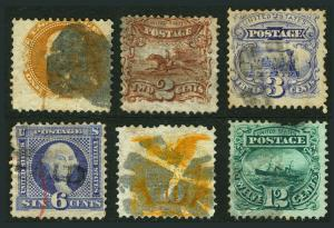 #112-#117 1869 1c-12c Small Group of 6 Used 1869 Issues #116 with Fancy Cancel