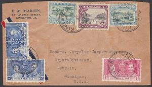 JAMAICA 1937 Airmail cover to USA - great franking.........................54785