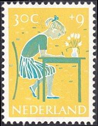 Netherlands # B340 mnh ~ 30¢ + 9¢ Girl Doing Homework