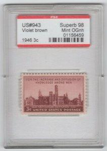 #943 3c, Superb 98 Mint OG NH - in case as shown   (GP2 10/28/19)