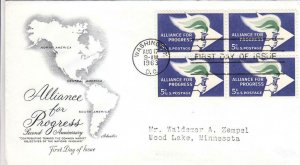 1963, 2nd Anniv. Alliance for Progress, Artmaster,, FDC (D8195)