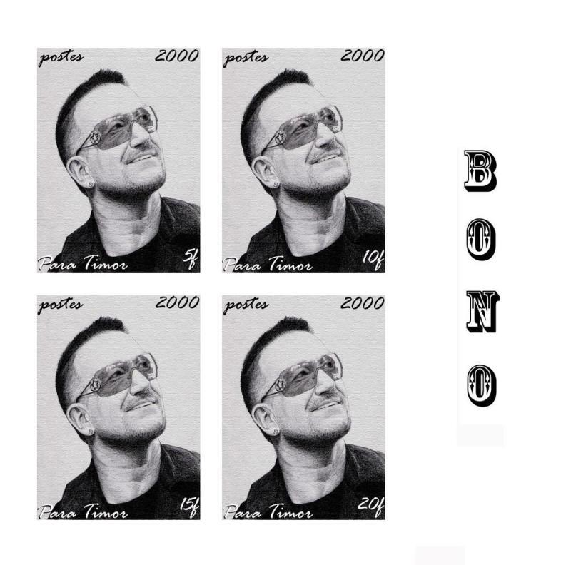 TIMOR SHEET IMPERF SINGERS POP BONO U2