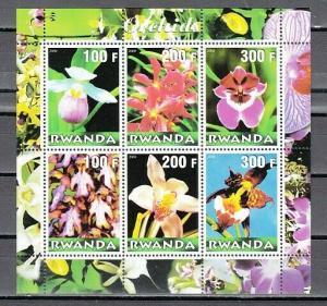 Rwanda, 2000 Cinderella issue. Various Orchids sheet of 6.
