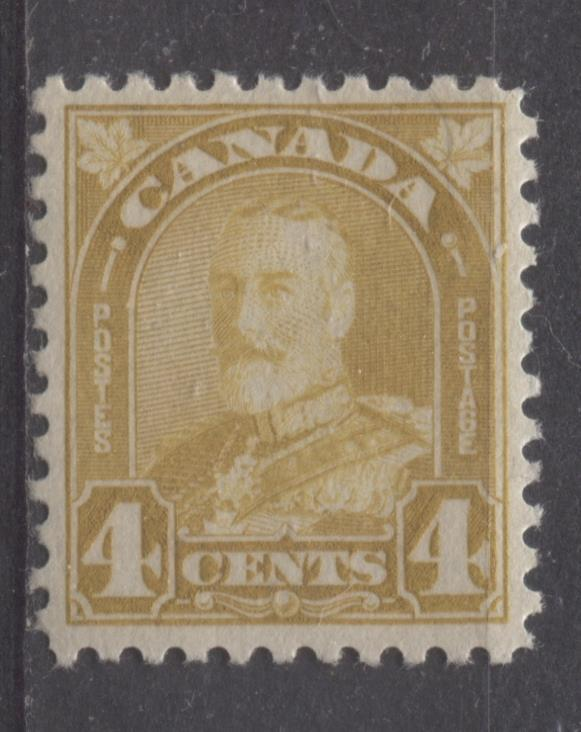 Canada #168 4c Pl Yellow Bis King George V 1930-35 Arch Issue Dp Cream VF-80 NH