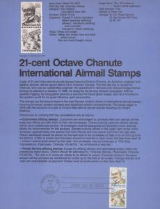 REDUCED!! 1979 OCTAVE CHANUTE INT'L AIRMAIL FDC SOUVENIR PAGE