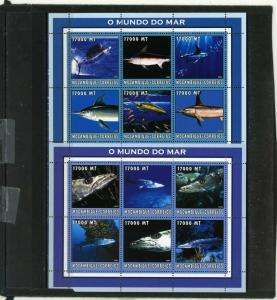 MOZAMBIQUE 2002 Sc#1656,1657 MARINE LIFE/FISH 2 SHEETS OF 6 STAMPS MNH