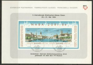 Switzerland, 1984 NABA Stamp Exhibit Souvenir Sheet,used on PTT sheet, no faults