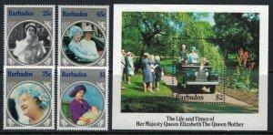 Barbados #660-4* NH  CV $8.00  Queen Mother set & souvenir sheet