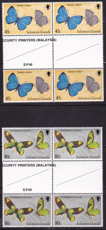 Solomon Islands 1980 Butterflies Complete in Gutter Pair Blocks of 4  VF/NH