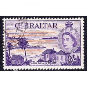 GIBRALTAR 1953 QEII 2/- Orange & Reddish-Violet SG155 Used
