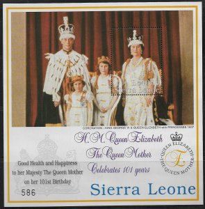 2001 Sierra Leone 2513 Queen Mother 101st Birthday MNH S/S