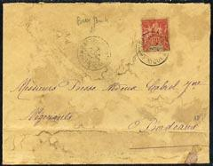 Martinique 1908 cover (stained) to Bordeaux bearing 10c r...