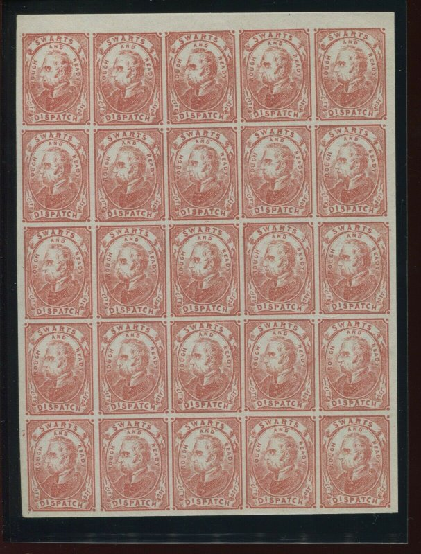 136L4 SWARTS CITY DISPATCH Sheet of 25 Stamps with PF Cert (136L4-PF A10)