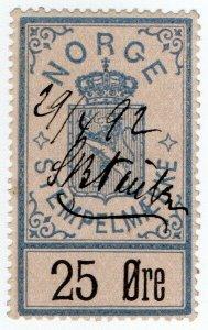 (I.B) Norway Revenue : Stempelmaerke 25 Øre (1886)