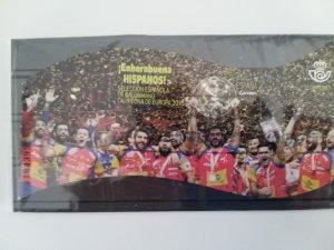 Spain used 2018 souvenir sheet Football