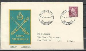 Denmark, Scott cat. 394 only. Frederick IX Definitive value. First day cover.