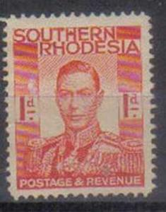 SOUTHERN RHODESIA, 1937, MH 1d. red. King George VI