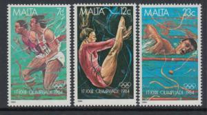 Malta 1984 Summer Olympics Games Los Angeles Sports Swimming Gymnastics Stamps