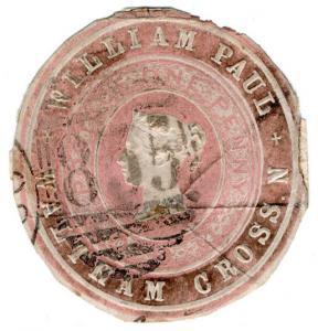 (I.B) QV Postal : Newspaper Wrapper - William Paul 1d (Advertising Ring)