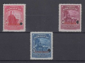 "PARAGUAY 1940 Sc 382-383 & 385 TOP VALUE PERF PROOFS + ""SPECIMEN"" MNH F,VF"