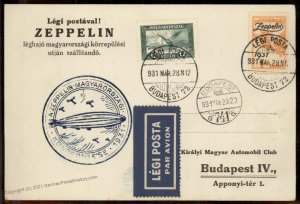 Hungary 1931 Graf Zeppelin 1p Flown Si102Aa Cover Budapest 100813