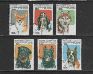 CAMBODIA #1734-1739 1998 DOGS MINT VF NH O.G CTO