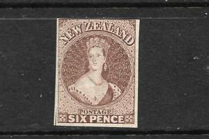NEW ZEALAND 1862-64  6d   BROWN    FFQ  IMPERF MNG  CP A5B3  SG 42.CHALON