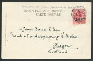 BR LEVANT TURKEY 1907 postcard Br PO Constantinople - EVII 1d optd LEVANT..56703